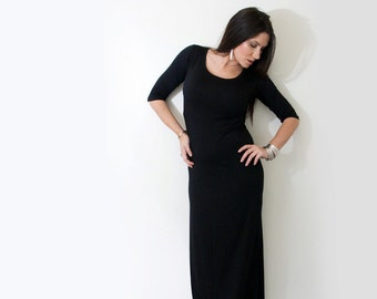 Womens Maxi Dress • Tall Petites • Quarter Elbow Sleeve • Lightweight Long Dress • Made in our loft • L   415 Clothing (L415 No. 949)