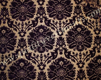 CLEARANCE!!! 2 yd (1.8 m) Piece Crushed Velvet Brocade Upholstery Purple Floral