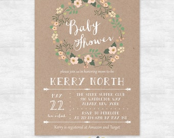 rustic baby shower invitation / floral wreath baby shower invitations / printable invitation / printed invites