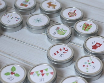 Owls & Friends Reusable Magnetic Christmas Advent Calendar / Advent Tins / Magnet Advent with Containers / 25 Day Christmas Countdown