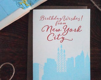 letterpress birthday wishes from new york city nyc greeting card happy birthday skyline cityscape candles red blue
