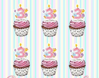 24 x Girls 3rd Birthday Stand-Up Pre-Cut Wafer Paper Cupcake Toppers