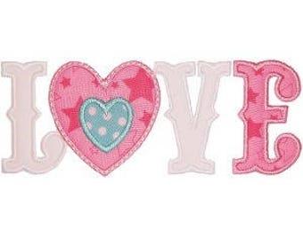 LOVE Iron On Patch Applique Machine Embroidered Iron On Applique Valentine