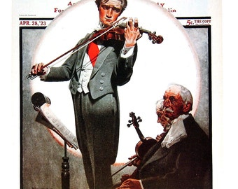 The Violinist, Shall We Dance? - Norman Rockwell Art - Saturday Evening Post Cover - 2 Sided 1989 Vintage Book Page - 10 x 12