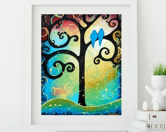 Tree of Life Print Wall Decor, Tree of Life Landscape Wall Art, Love Birds Whimsical Art Print, Romantic Gift for Couple