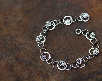 Unique Silver Links Chain Bracelet, solid sterling silver chain bracelet, Hammered spirals in circles, Artisan metalsmith jewelry