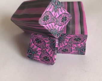 Square Paisely Pink Unbaked Polymer Clay Cane