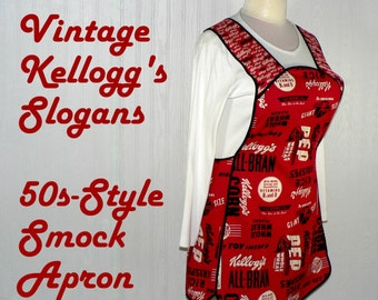 Retro Kellogg's Slogans 50s Smock Apron, comfortable all day, Mother's Day gift ready-to-ship in this size, H back (doesn't touch neck)