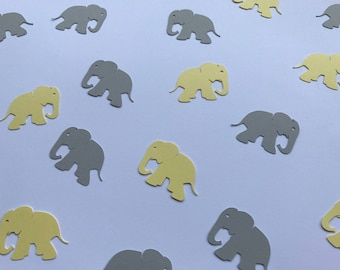 Yellow and Grey Elephant Confetti - Elephant Baby Shower Confetti - Yellow and Grey Baby Shower - Gender Neutral Baby Shower Decorations