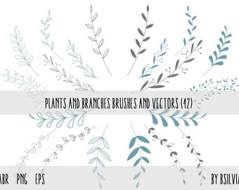 Floral Photoshop brushes Plants and Branches, Plants and Branches transparent PNG files, Plants and Branches vectors, Floral clip art