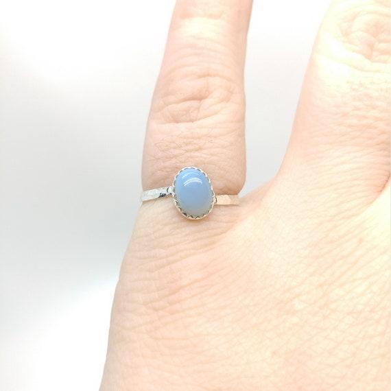Owyhee Blue Opal Ring   Blue Stone Ring   Sterling Silver Ring Sz 6.5   Blue Opal Jewelry   Simple Blue Ring   Oregon Opal Jewelry