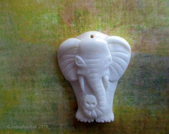 Little Ellie Elephant Carved Bone Pendant Bead 30mm