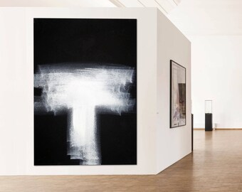 Abstract Modern Art black & white extra large wall art canvas handpainted original minimalist art
