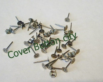 48 Stainless Steel 4mm Earring Posts and Backs - 10.4mm Long
