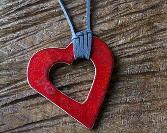 Mother's Day special. Long ceramic heart necklace.