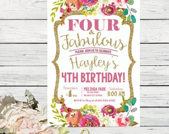 Four & Fabulous - Fall Bohemian flowers Personalized birthday  invitation- ***Digital File*** (Four-FabFallflower Wht)