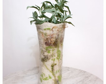 Vase Cover or Luminary Wet Felted Wool