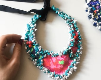 Unique jewelry, aqua blue necklace, handmade necklace, unique necklace, flower necklace, boho floral necklace, hand embroidered necklace