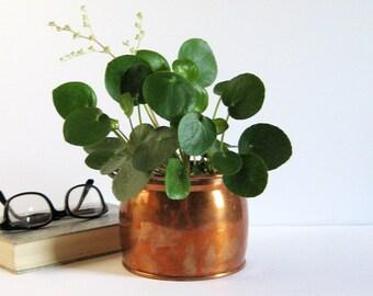 Vintage Copper Planter with Brass Handles - 5 Inch Copper Flower Pot - Copper Home Decor - Indoor Outdoor Garden Planter - Succulent Planter