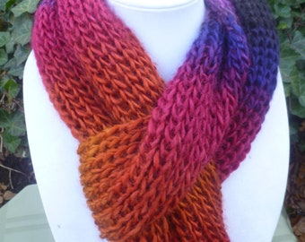 Hand Knit long scarf, Hand Knit multi color scarf, hand knit womens scarf, hand knit light weight scarf, scarve , scarf