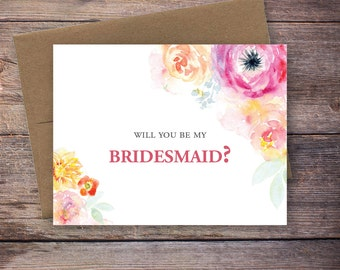 Printable Flower Will You Be My Bridesmaid Card - Instant Download Greeting Card - Will You Be My Bridesmaid Instant Download - Wedding Card
