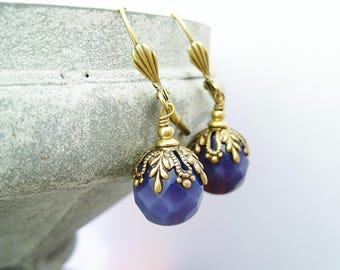 Ultra violet earrings purple dangles violet vintage dangles brass earrings aubergine dangles