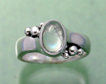 Tri Bubble 6x8 Crystal Rainbow Moonstone Ring ~ Size 4 to 13 ~ Sterling Silver