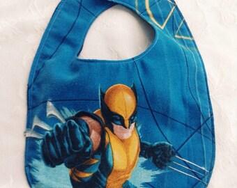 WOLVERINE Bib - XMEN Baby Bib - Avengers Baby Bib - Marvel Comic Wolverine Bib - Logan - Avenger Bib - Upcycled Vintage Sheet Bib - Baby Bib
