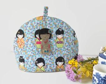 Tea Cosy, Kokeshi Tea  Cosy, Japanese Tea Cozy, Fabric tea Cozy, Kitchen & Tea Accessory, Gift idea for Tea Lover,  Blue tea Cosy, mum gift
