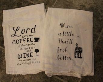Flour Sack Kitchen Tea Towels Set of 2