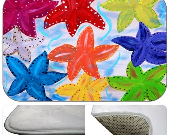 Colorful starfish non-skid indoor floor mat from my art