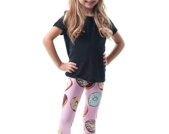 Donut Kids Legging, Printed Pink Junk Food Baby Tights, Pastel Doughnut Pattern Girls Leggings