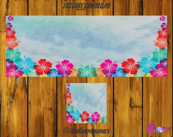 Facebook Cover and Profile Image Design Set, Hawaiian Design.