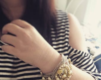 Wedding Bracelet, Statement Cuff, Pearl Bracelet, Vintage Assemblage