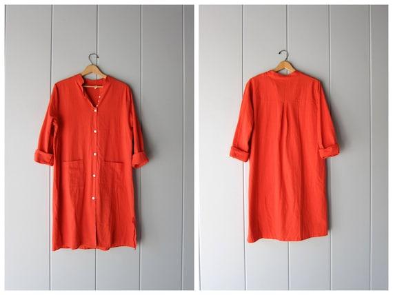 Coral Orange Caftan Dress Thin Cotton Midi Dress Collarless Moroccan Dress Bohemian Minimal Tunic Top Traditional Shirt Womens Medium Large