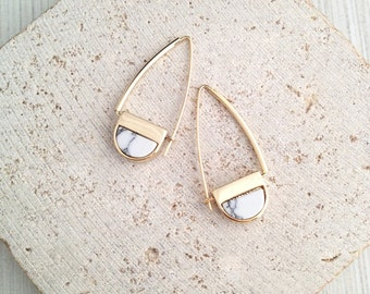 Marble Earring,Geometric Marble Earring,Gold Marble Earring,Marble Dangle Earring,Geo Marble Earring,Marble Threader,White Marble Earring