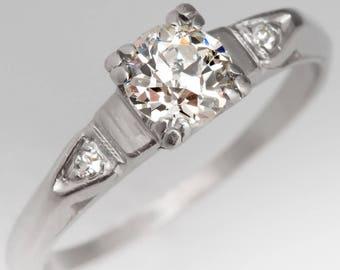 Antique Engagement Ring - Half Carat Old European Cut Diamond W Single Cut Diamonds  - 1920's Antique Platinum Engagement Ring - WMD12864