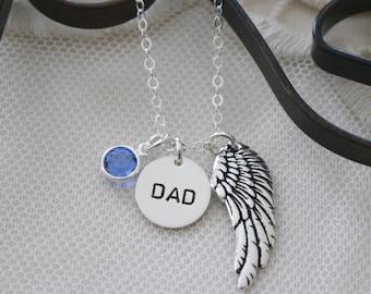 Dad Memorial Necklace, Dad Necklace, Dad Remembrance Necklace, Dad Memorial Gift, Dad Angel Wing Necklace, Name Wing Stone Necklace, Custom