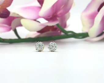 0.35CTW Diamonds Cluster/Flower Earrings in 14K Two Tone Gold