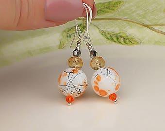 Orange Earrings Glass Bead Earrings Lampwork Earrings Striped Earrings Artisan Earrings White Orange Jewelry Handmade Earrings Gifts for Her
