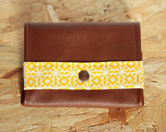 Brown leather with yellow patterned fabric Tristan wallets