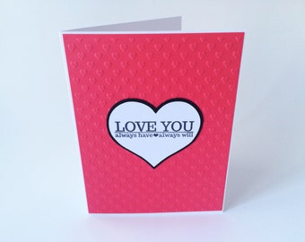 SALE Anniversary Card, Card For Husband, Boyfriend Card, I Love You Card, Card For Her,  Embossed Card, Valentines Day Card, Red Hearts