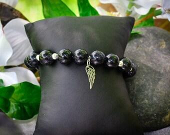 Goldstone and Sterling Silver Angel Wing Bracelet