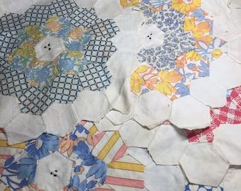 Vintage Quilt Blocks Flower Garden Pattern Handmade