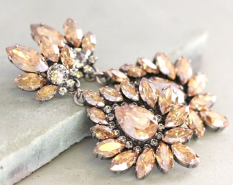 champagne Chandeliers,Swarovski Bridal champagne Statement Earrings,Swarovski Crystal Chandelier Earrings,Topaz Victorian Style Earrings