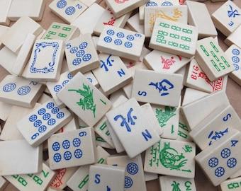 Wood Mahjong Tiles - Multi-color Wood Mahjong Tiles, Craft Mahjong Tiles
