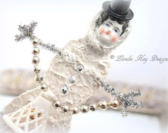 Snowgirl Art Doll Ornament Christmas Winter Doll Sculpted Snowman Art Doll China Head Doll Frozen Charlotte Lorelie Kay Original