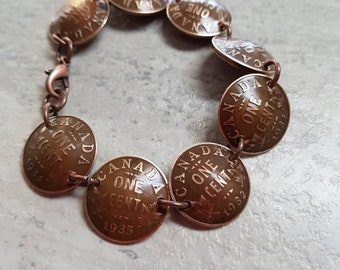 Old Canadian penny bracelet. Actual pennies domed