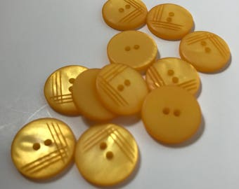 Yellow etched surface Buttons 4 sizes