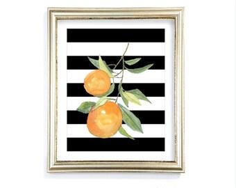 Oranges Art Print - Watercolor Orange Print - Lemon Art - Citrus Fruit Kitchen Wall Art - Orange Black and White Decor - Aldari Art